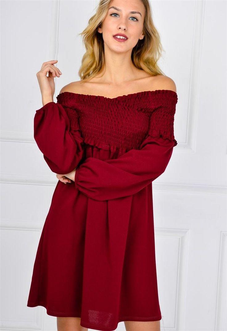 Sukienka oversize ściągany dekolt łódka bufki, Ona Odzież Sukienki | Sukienki.shop