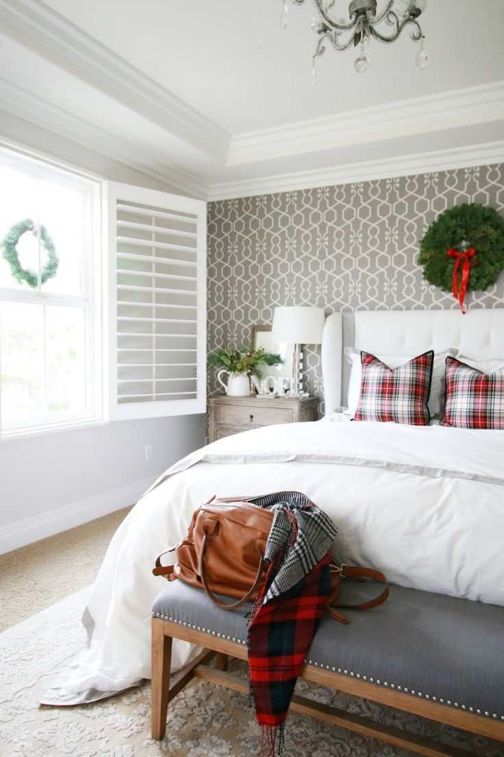 I love how they put wallpaper on just 1 wall. Adds so much charm!  ... / /    Our Christmas Bedroom