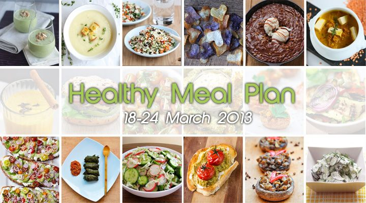 Healthy Meal Plan 18-24 March 2013. Weekly healthy vegan/vegetarian meal plans, from Monday to Sunday, with 6 recipes per day for breakfast, lunch, snacks and dinner!! | gourmandelle.com