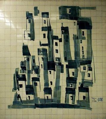 Tile panel LE MÉTRO (1988), Vieira da Silva / Manuel Cargaleiro. Cidade Universitária subway station, Lisbon, Portugal. http://www.metrolisboa.pt/eng/more-metro/art-in-metro | Photo @ A Matemática Anda por Aí. http://amatematicaandaporai.blogspot.pt/2009/06/vieira-da-silva.html