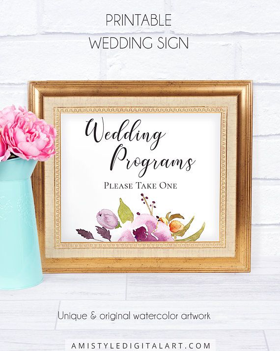 Bohemian Wedding Program Sign, with unique and delightful watercolor flowery graphics in boho and chic style.This trendy wedding signage is an instant download PRINTABLE PDF pack so you can download it right away and print it at home or at your local copy shop by Amistyle Digital Art on Etsy