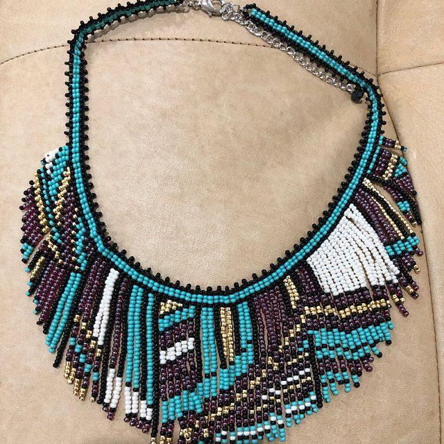 Aztec Print Seed Bead Choker