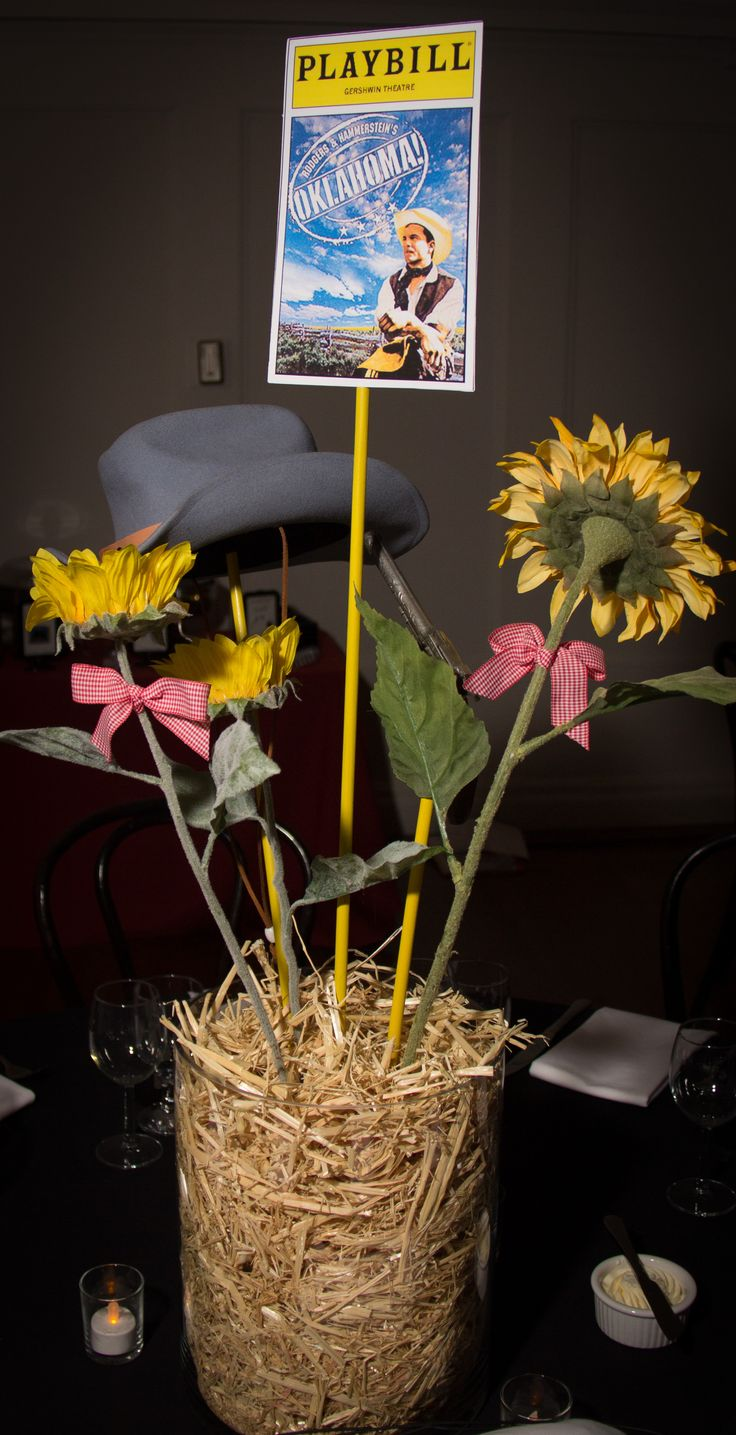 Oaklahoma Centerpiece Broadway Bat Mitzvah #BatMitzvahCenterpiece for rent Broadway party theme ideas #DIY #Broadway #DIYCenterpiece