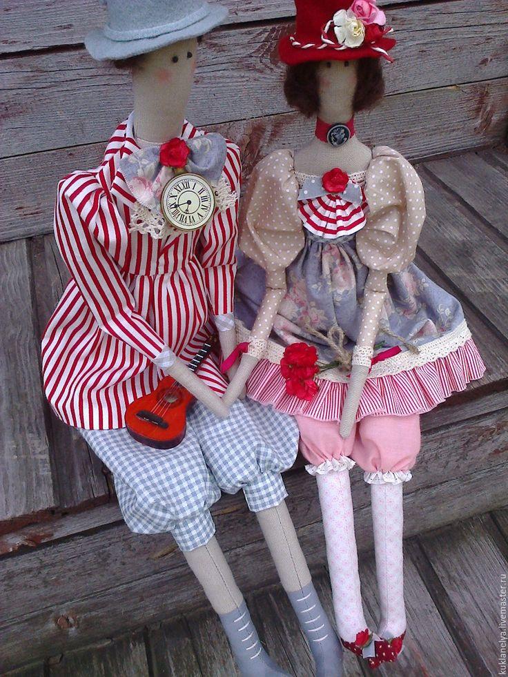 Купить Кукла тильда ручной работы Двое и гитара(2) - комбинированный, hand made