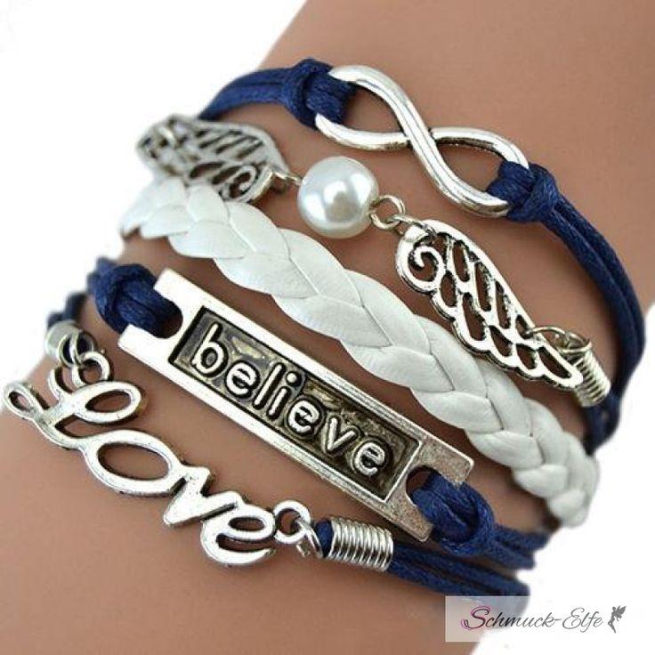 Armband Engelsflügel & BELIEVE blau weiß mit Perle i