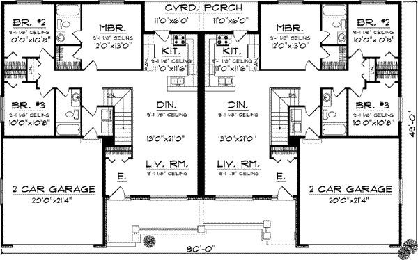 Duplex country style house plans 2514 square foot home for Single story duplex