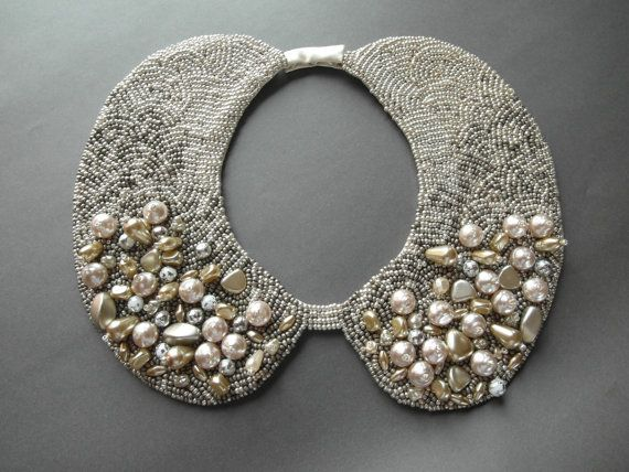 Handmade wedding pearl collar necklace vintage by ilvakampare