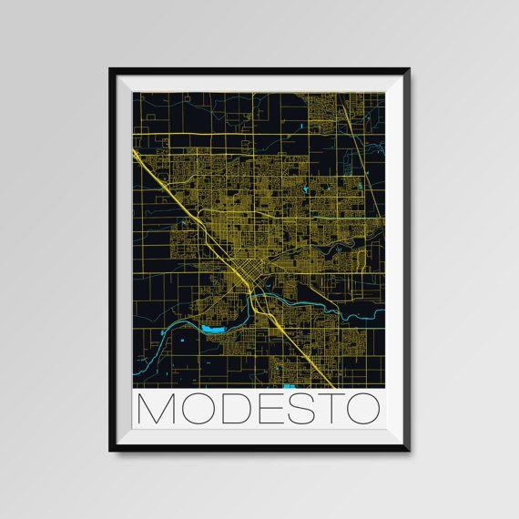 Modesto map, California, yellow, Modesto print, Modesto poster, Modesto map art, Modesto city maps, Modesto Minimal Wall Art, Modesto Office Home Décor, black and white custom maps, personalized maps