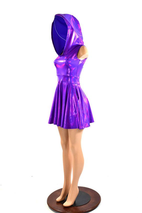 Grape Purple Pocket Hoodie Skater Dress by CoquetryClothing
