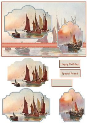 sunset sailing card with toppers on Craftsuprint designed by Angela Wake - sunset sailing card with toppers and sentiment tags a lovely card for a male - Now available for download!