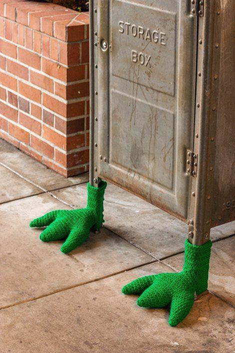 Monster Feet Mailbox Yarn Bomb