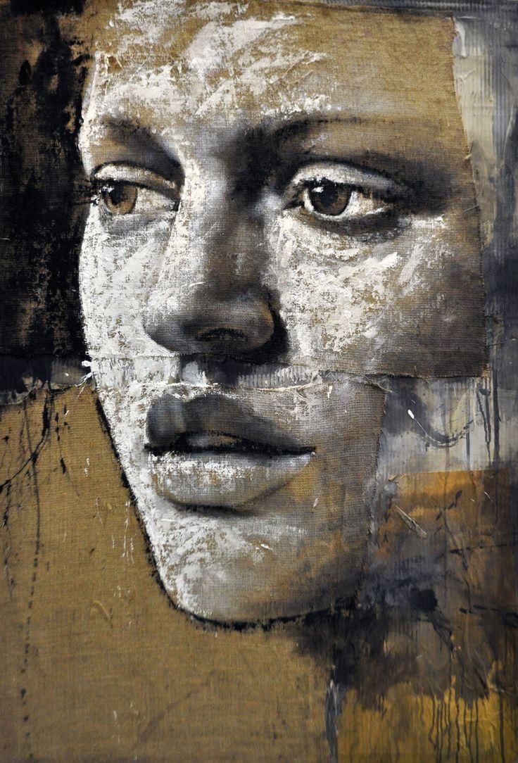 'I feel' (2011) by Italian painter Max Gasparini (b 1970). Stucco & acrylic on jute. via the artist's site