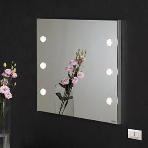 ME501 wall light mirror with 6 lights for make-up 800x600. Make up Vanity Mirrors. Cantoni for beauty salons, perfumeries, and makeup schools. A wall mounted mirror specially engineered for make-up and styling works. Structure in light glazed aluminium, 6 light points inset in the glass. The I-light technology created by Cantoni yields an 180° light around the face and remove every shadow area. #cantonimirror #makeupmirror #lightedmirror