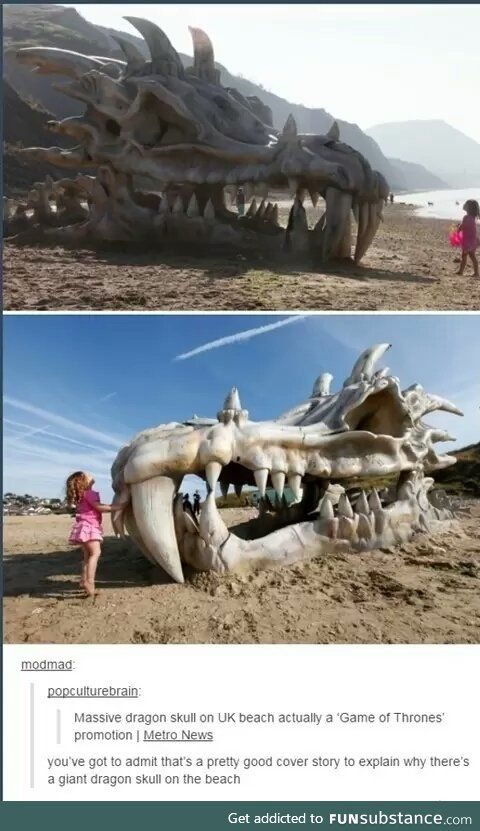 Nice try. Game of thrones promotional dragon skull on the beach