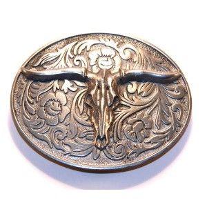 Boucle de ceinture Western en étain Tête de bétail   10cm x 7cm   ceint 5 cm