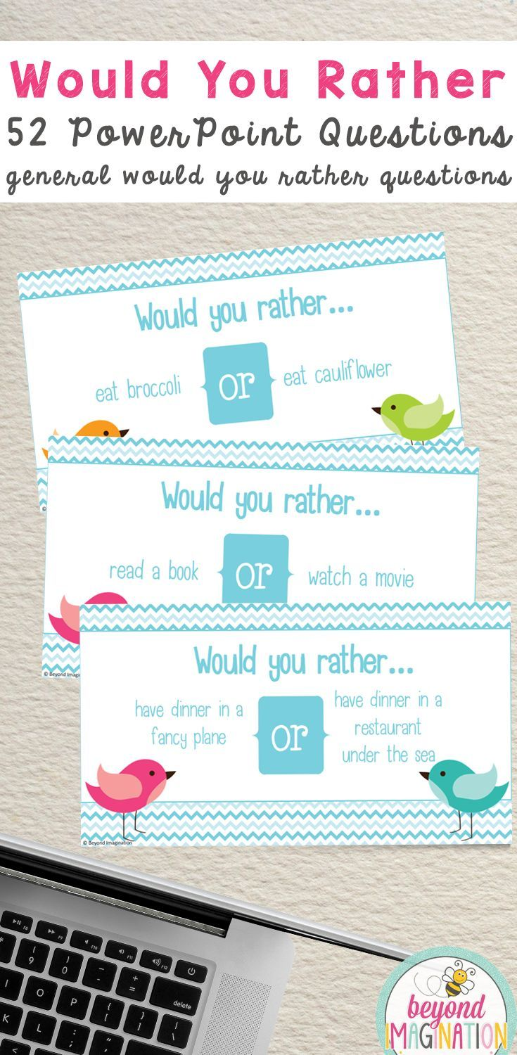 Would you rather questions for kids. Classroom fun ideas for teachers. PowerPoint format. #tpt #would #you #rather