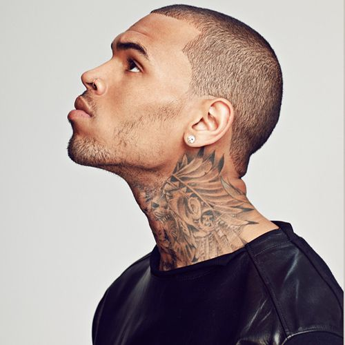 Chest, sleeve, neck and back are the different parts of the body that Chris Brown's tattoos.
