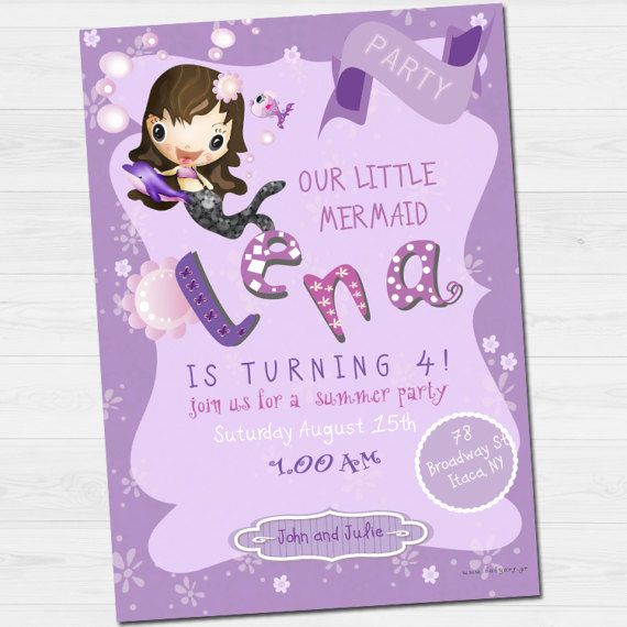 Birthday Invitation with name and thank you card/  by babyartshop
