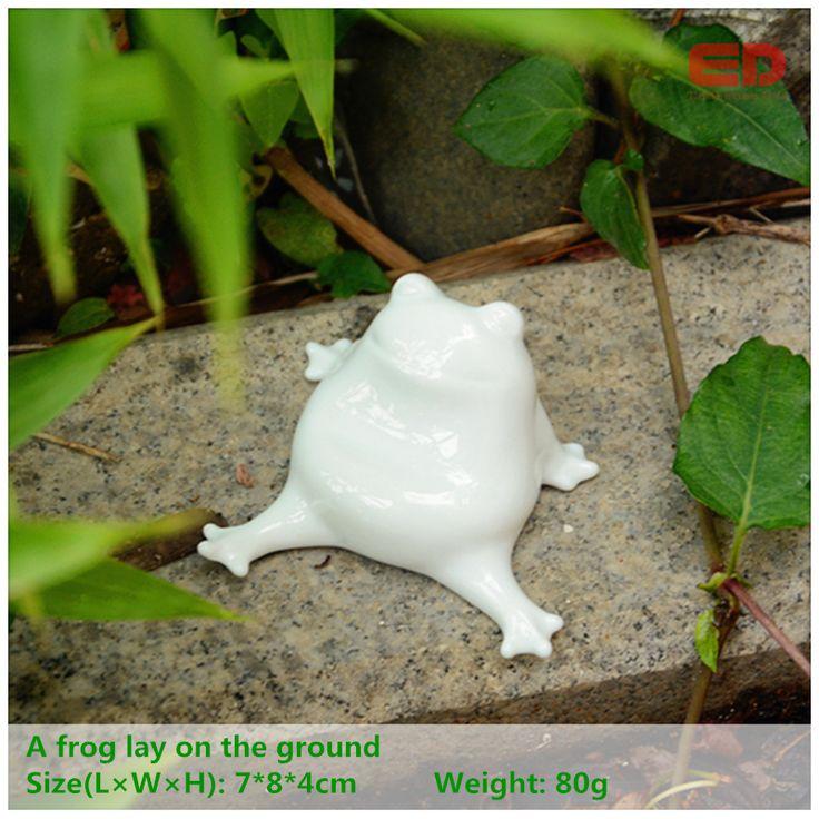 ED original design folk art cute  ceramic/porcelain frog home animal miniature figurine outdoor garden decoration