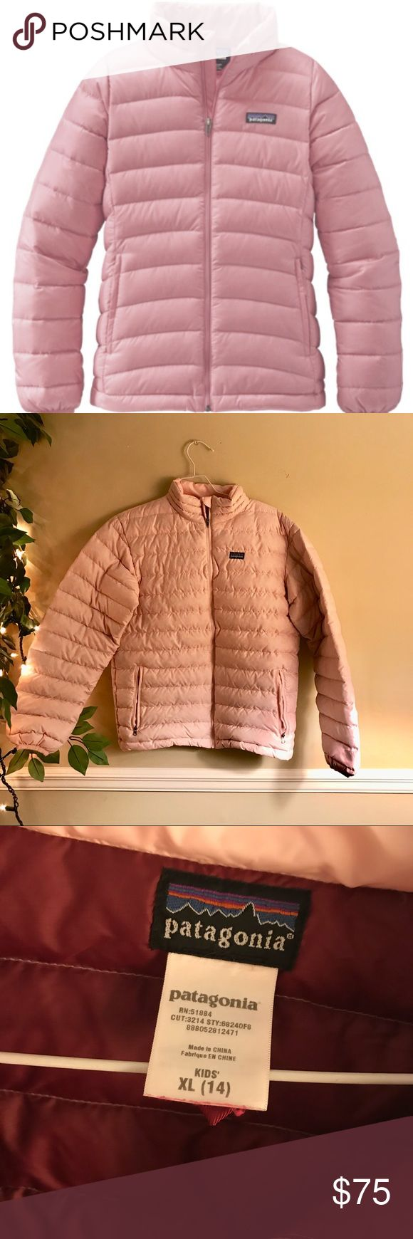Patagonia light pink down feather winter coat Patagonia light pink colored down feather puffer winter zip up jacket. The lining is a burgundy color. This jacket is essential for cold outings! Pristine condition other than one flaw which is pictured; on the back of the coat there is a tiny hole which could be fixable. These jackets are made for the cold and made to be extremely durable. Clean and comes from smoke free home. size kids XL but I'm a size XS/S and this fit me just fine. Patagonia…