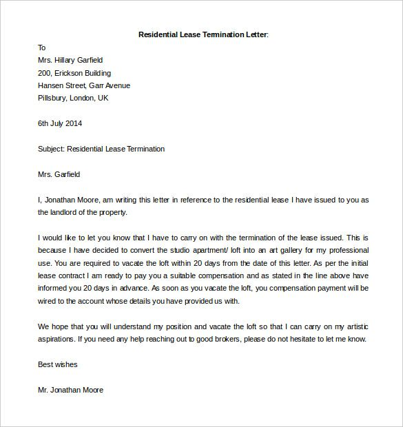 free termination letter template word documents download business contract livecareer