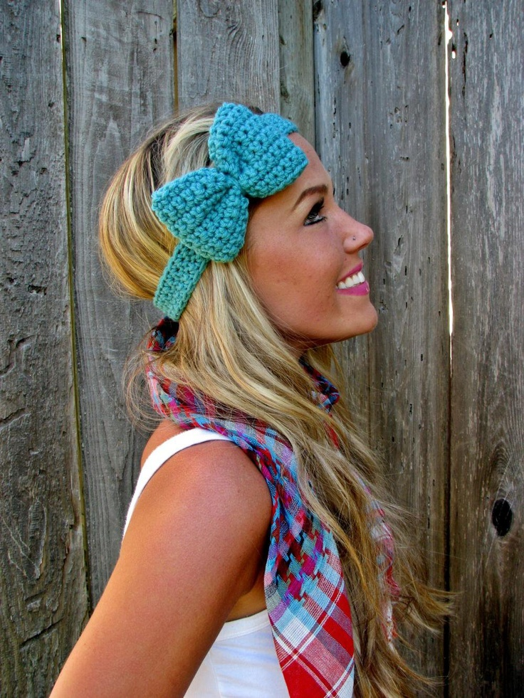 Fall Headband: Bows Headbands, Cute Headbands, Head Band, Hair Color, Fall Headbands, Winter Headbands, Bow Headbands, Turquoise Bows, Crochet Headbands