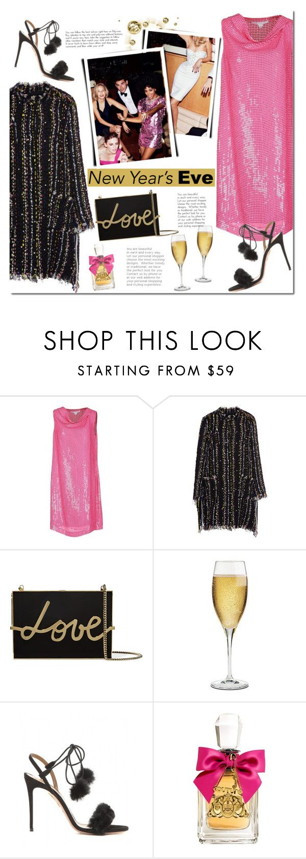 """""""NYE Dance Party"""" by mada-malureanu ❤ liked on Polyvore featuring Diane Von Furstenberg, MSGM, Lanvin, Riedel, Aquazzura, Juicy Couture, dress, polyvoreeditorial and nyestyle"""