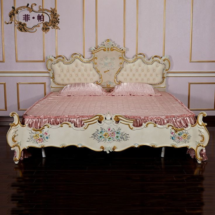 royal classic european furniture - antique solid wood hand carving bed  Free shipping US $3,598.00