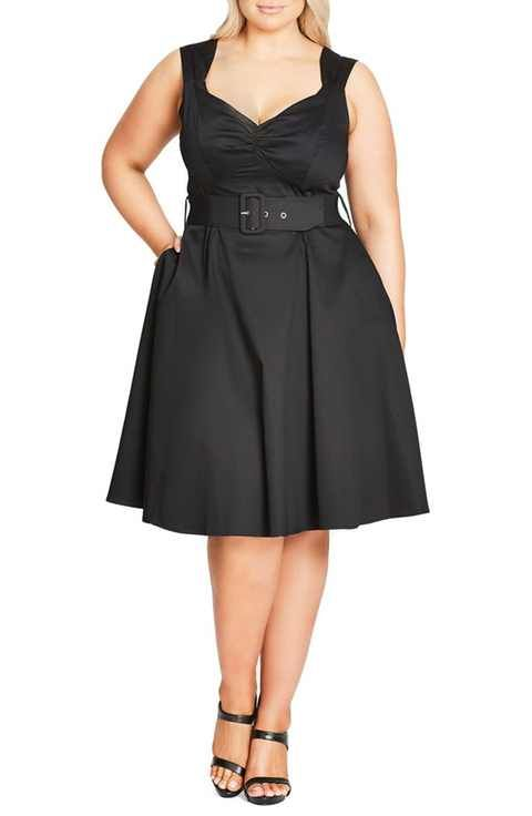 City Chic Pin Up Belted Fit & Flare Dress (Plus Size)