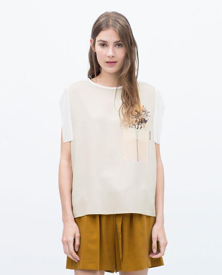 ZARA的图片 1 名称 花朵和口袋 T 恤