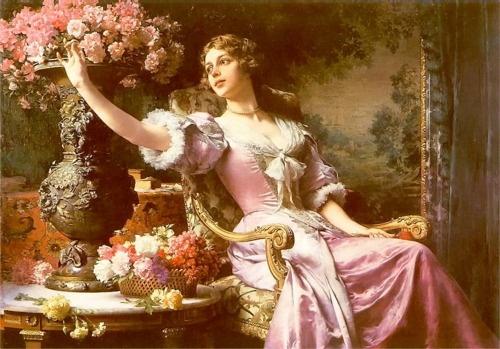 Lady with Flowers - Podkowinski