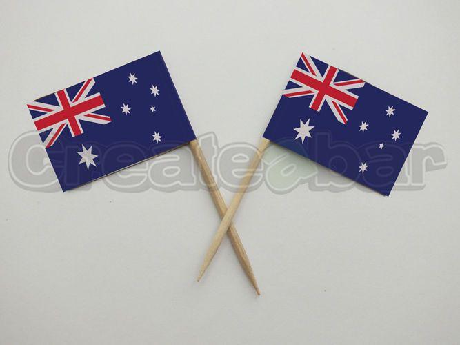 72 Australian Flag Picks - Buffet Sandwich Cupcake Toppers - Australia Flags