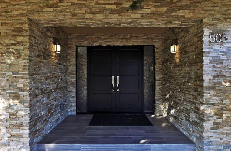 Eclectic Front Door with 4-Panel Double Doors, exterior tile floors