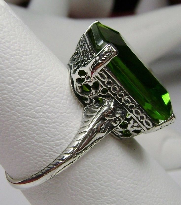 10ct *Peridot* Sterling Silver Victorian Etch Filigree Ring Size (Made To Order) #SilverEmbraceReproductions #Solitaire #any