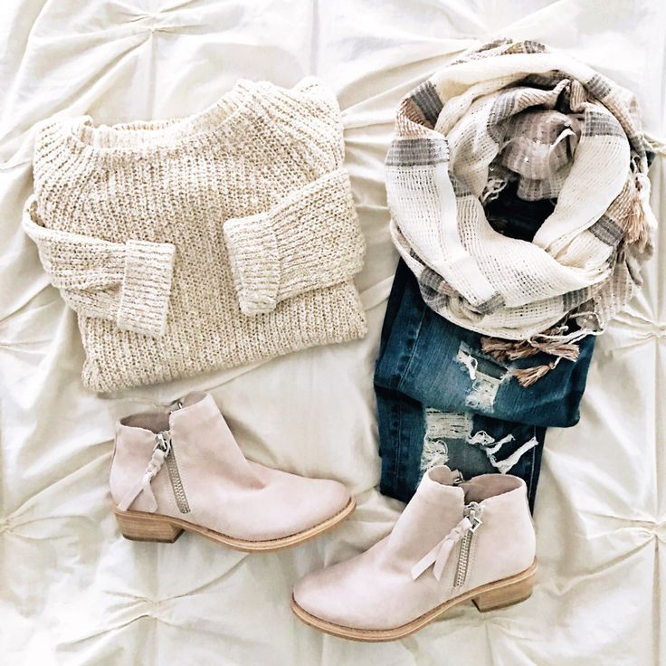 Winter and Spring outfit inspiration sweater scarf and booties