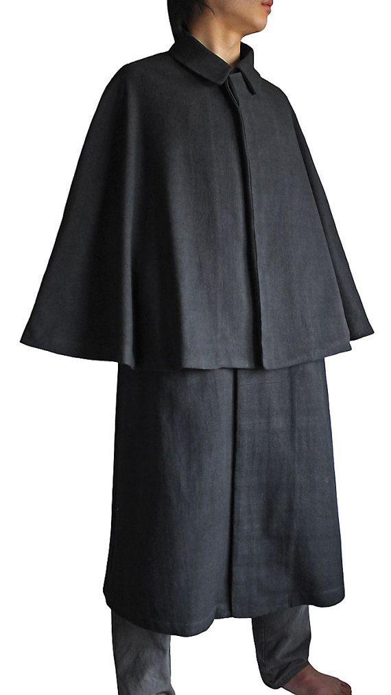 Tessuti a mano ChomThong, cappotto di cotone Inverness (JFS-076-01)