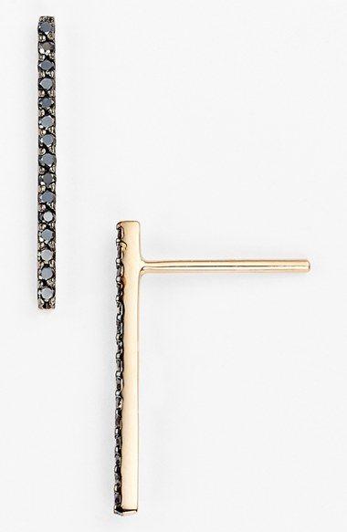 kismet by milka 'Lumiere' Black Diamond Stud Earrings available at #Nordstrom