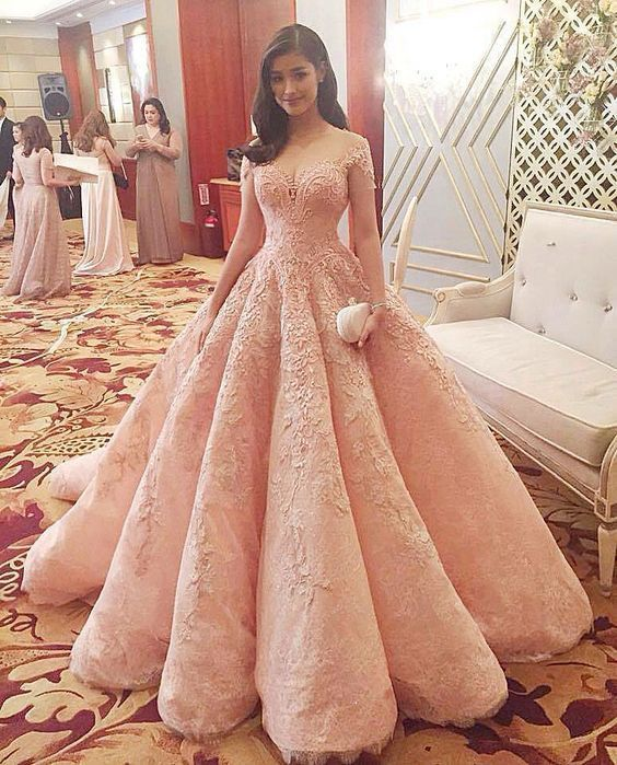 Ball Gown Prom Dress,Lace Appliques Prom Gowns,Pink Prom