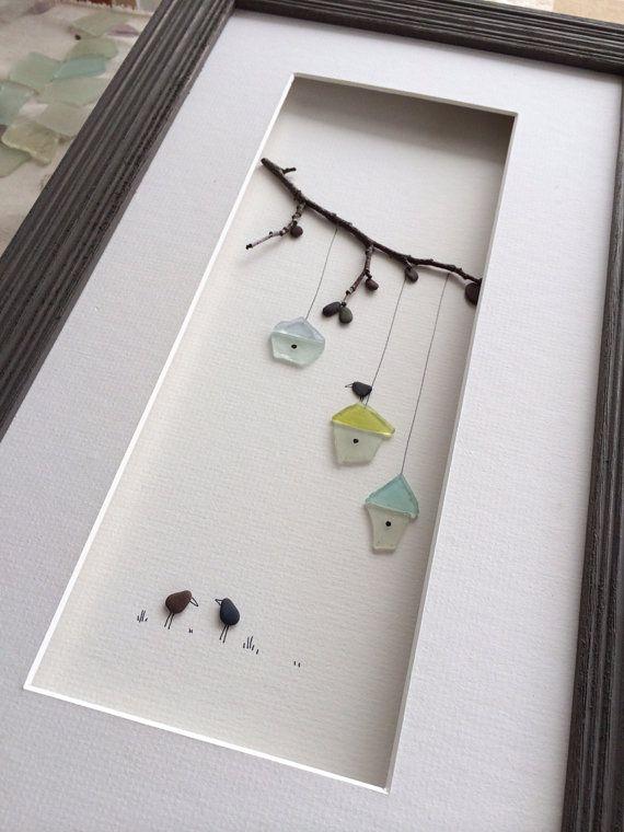 8by15 art de galets de NS par sharon nowlan encadré avec verre et nattes darchivage