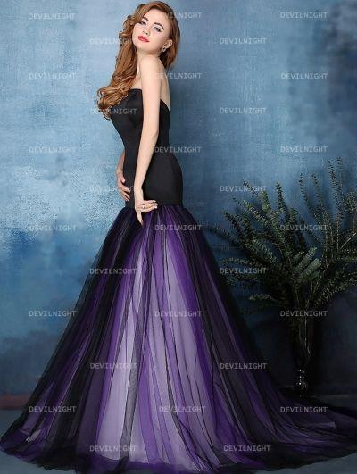 Black and Purple Mermaid Gothic Wedding Dress