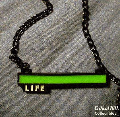 Glowing Life Bar Necklace / Pin - video game jewelry nerd gifts health bar zelda jewelry