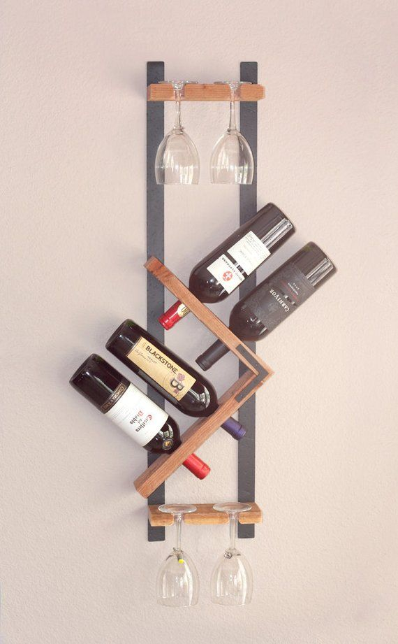 Modern Wall Wine Rack Zig Zag Wine Holder Wall Wine Bottle Etsy Wine Rack Wall Modern Wall Wine Rack Unique Wine Racks
