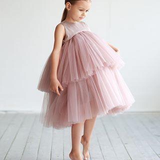 c5f7383e896 Ярусное платье из фатина пыльного оттенка ❤ • Состав  50% хлопок ...