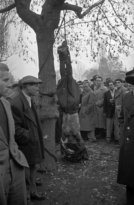 "HUNGARY: Magyarovar. October.1956 Revolutionaries have executed a member of the Communist Secret Police, the ""AVO""."