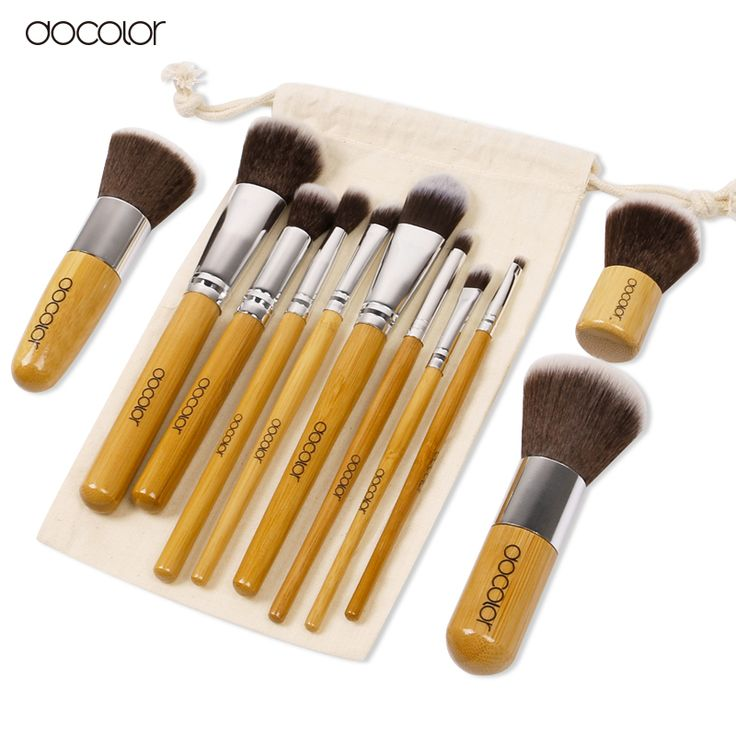 Docolor 11PCS bamboo makeup brush Professional makeup brush set Soft Eyeshadow Foundation Concealer Brush Set Brushes BeautyTool Synthetic Hair *** AliExpress Affiliate's Pin. Offer can be found by clicking the VISIT button