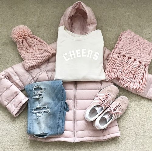 Cheers to 2018! Blush pink puffer jacket, knit fringe scarf, pink Gazelle Adidas, beanie, light blue ripped denim, and Old Navy Cheers sweatshirt!  Winter outfit ideas with blush pink, ski outfit ideas, New Years outfit ideas