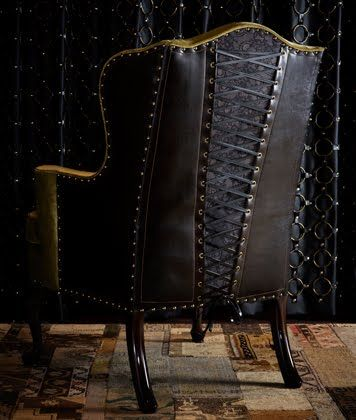 Chintz of Darkness: Naughty by Nature  Thank you for this image.  Beautiful corset laced chair. Fantastic!