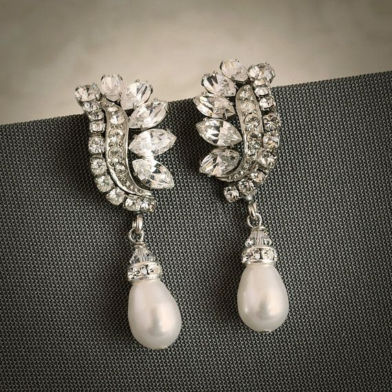 LAYLA Vintage Style Crystal and Pearl Wedding by GlamorousBijoux, $68.00