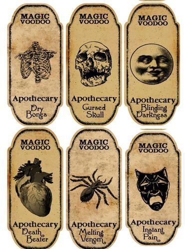 Halloween 6 Large Magic Voodoo Apothecary Bottle Labels Stickers Crafts   eBay
