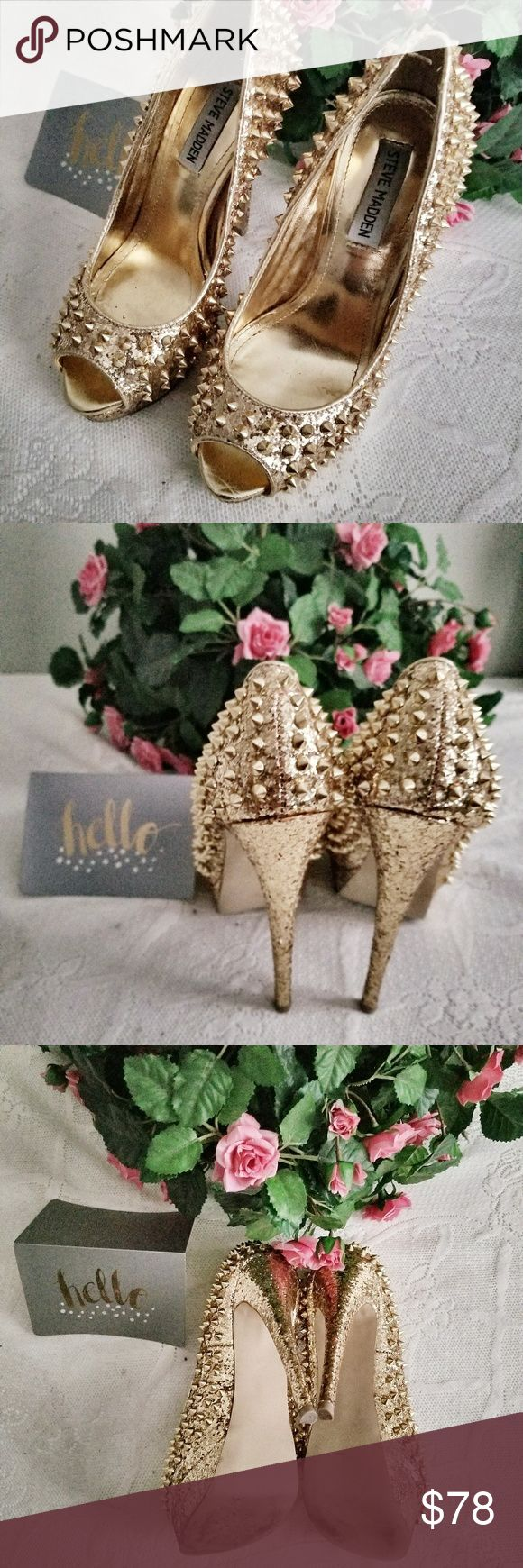 Steve Madden Gold Spiked Heels Platform heels by Steve Madden. The spikes take this already show stopping gold glitter platform to higher heights! Perfect for a special girls night out or Vegas! Like new! Steve Madden Shoes Platforms